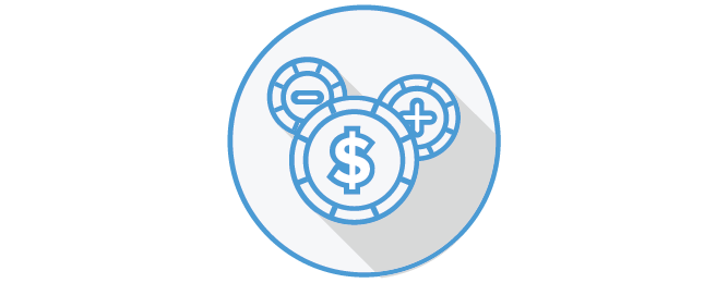Icon depicting three circles one with a dollar sign one with a plus and one with a minus