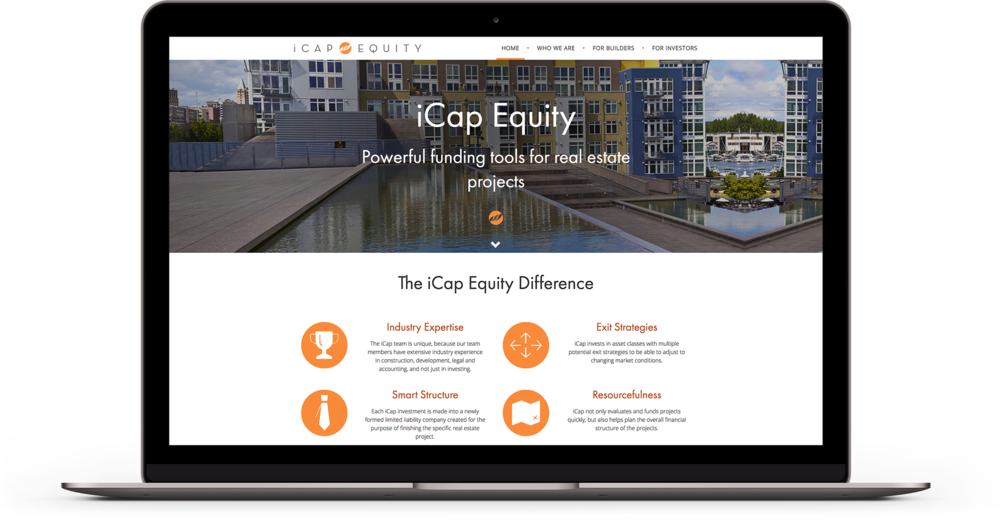 The iCap Equity web page displayed on a laptop