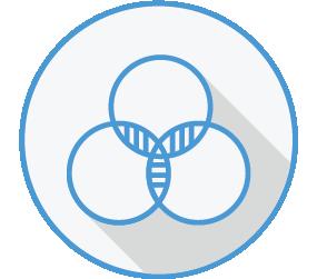 Icon of three circles in a venn diagram
