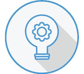 Icon of a cog inside a lightbulb
