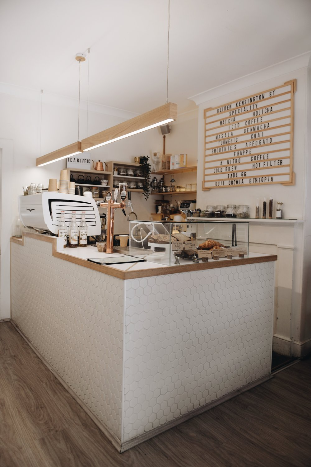G L I D E R K S C A F E /  Glider   A cosy shop along the Kensington Street (where next door is the famous the Old Clare Hotel) and an eatery street. You can find matcha items and coffees here with some healthy options for food.  📍  Glider KS  26 Kensington Street  Chippendale  NSW