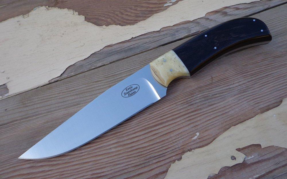 Margis Knife, Bohler N690 blade, Giraffe Bone bolster and African Blackwood handle.