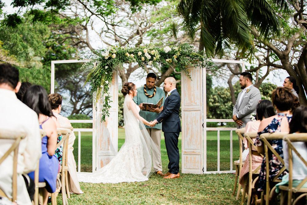 Custom Ceremony Arch | Olowalu Plantation House | Luxury Destination Wedding Planner | Unveiled Hawaii