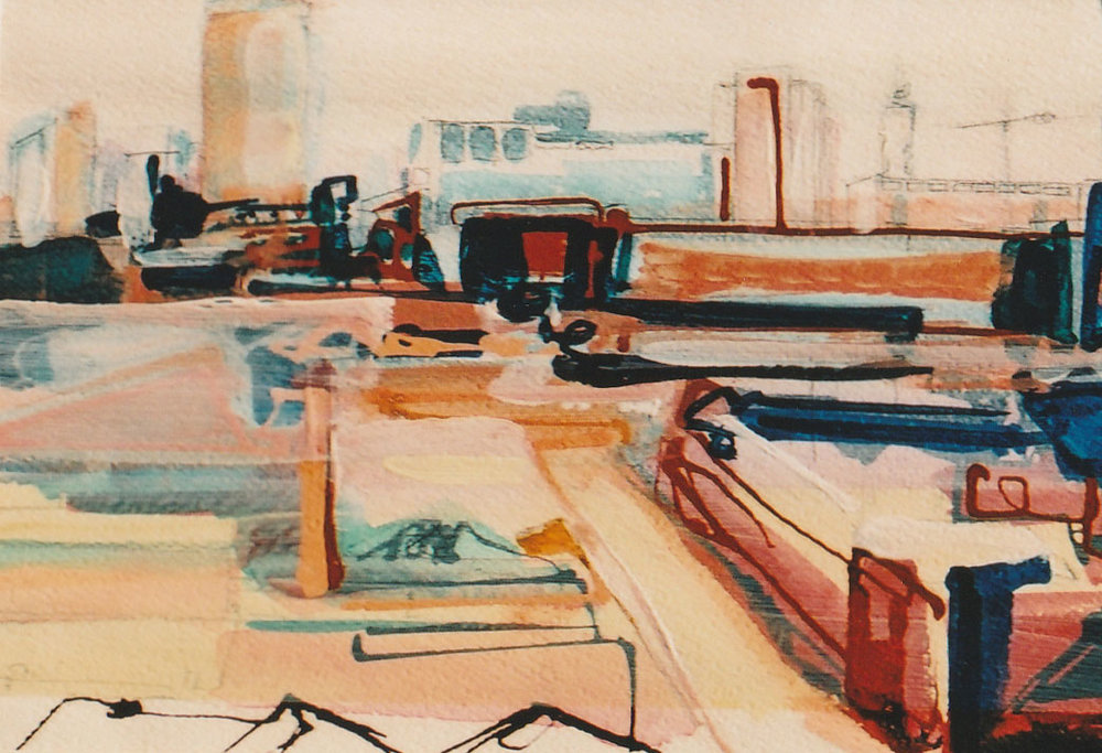 Birmingham study 1, acrylic on paper, 33 x 23cm, 2001 Sold
