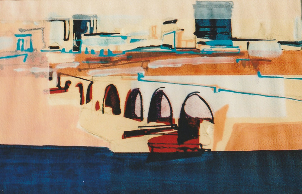 Birmingham study 3, acrylic on paper, 50 x 33cm, 2001 Sold