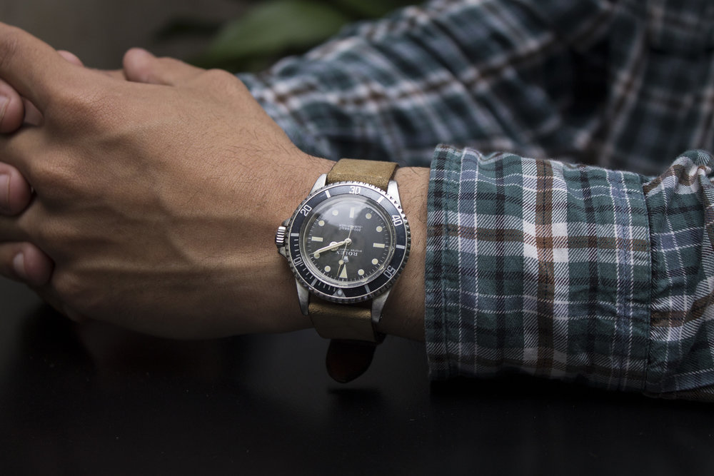 Another 5513 that we had, this one with a discreet fade on the bezel and dial! My favorite colours in vintage divers!