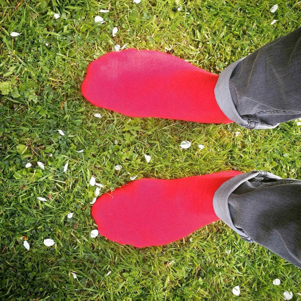 """""""Being in nature brings me out of my head and into my body.It's pavlovian for me.I love the red of my socks against the green grass. I washed them once and they were never this red again!  I also try to fill my ever-negative-biased inner monologue with alternative positive self-talk in the form of sayings I see online. You have to take A LOT of them with a pinch of salt though, because some of them will assume a normal functioning mind, and if yours is Borderline (as mine is) they can sometimes seem impossible and therefore damning"""".  Submitted by Jamie Stewart (@jimthevic) on 5th June 2018."""