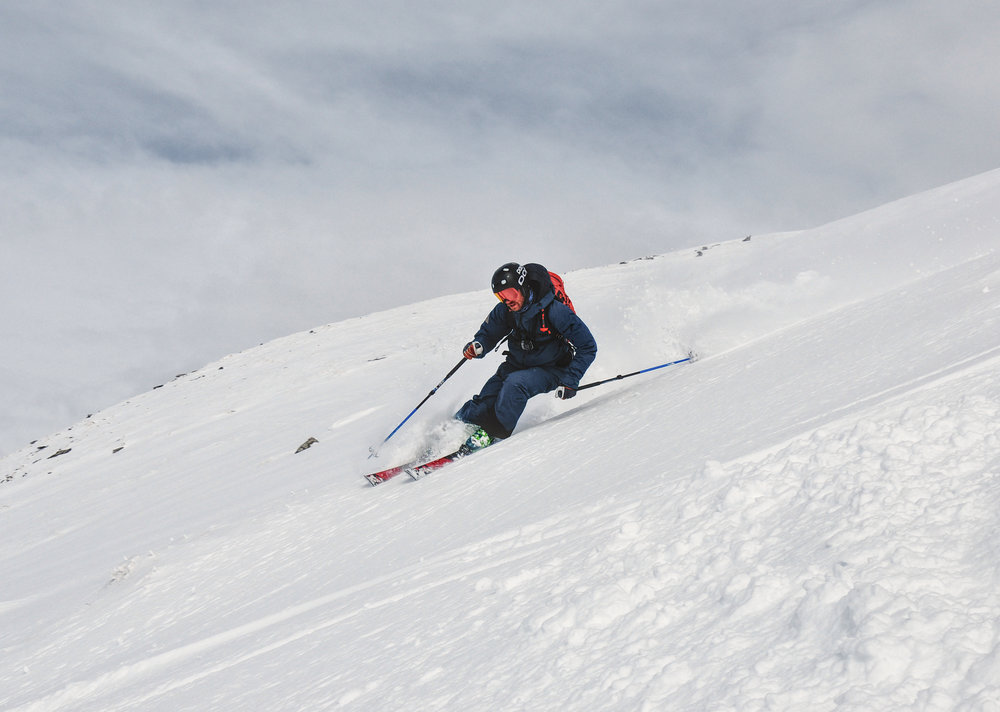 David skiing off piste