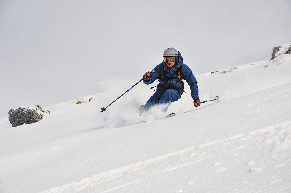 Marc skiing off piste