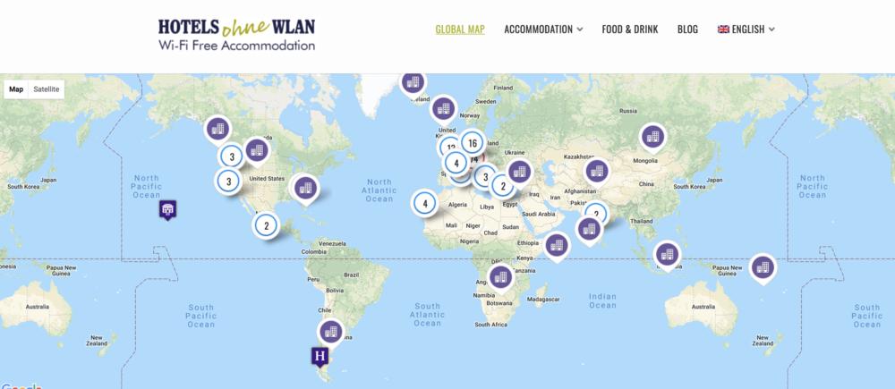 Wifi-vrije accomodaties wereldwijd