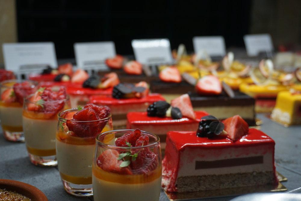 An outragoues amount of sweet treats at the Palmen Restaurant on their dessert buffet.