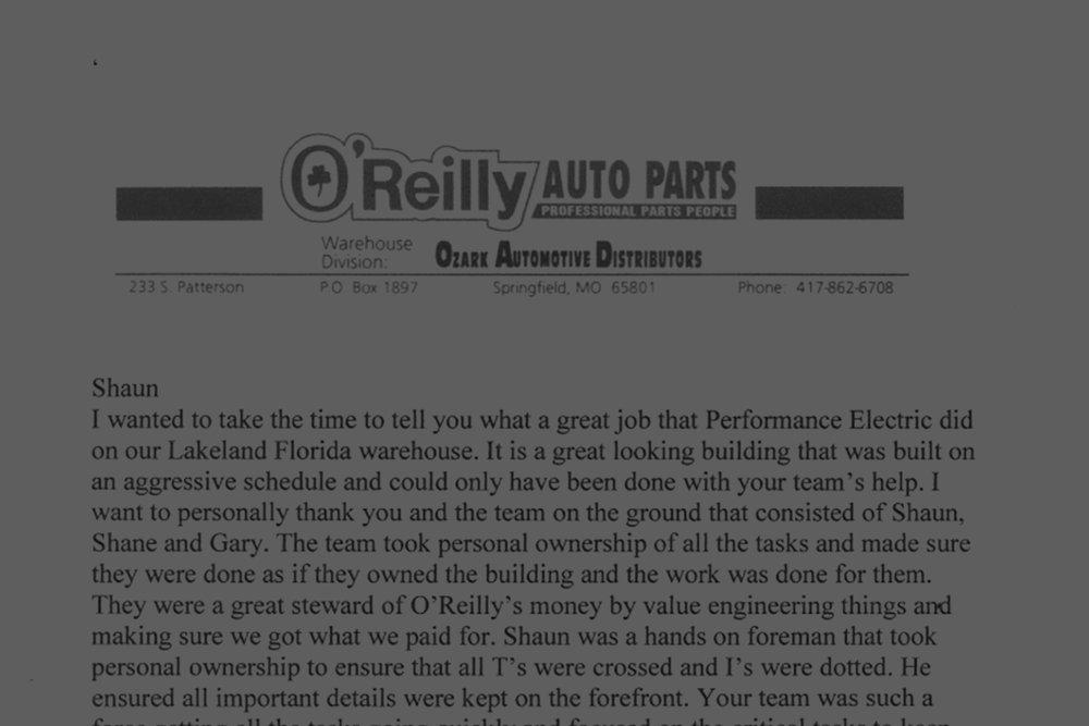 O'Reilly's Auto Parts -