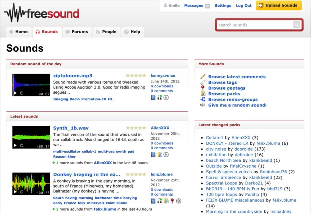 FREESOUND.org - O FreeSound possui uma variedade extensa de sons enviados por pessoas do mundo inteiro e um sistema de registro bem simples e rápido. Após fazer o login poderá digitar o tipo de som que deseja no campo de buscas, ouvir um preview e baixar rapidamente cada som. Diferente das bibliotecas pagas em que os sons possuem uma qualidade de gravação impecável, nos bancos de áudio gratuitos existem arquivos de áudio de qualidade variada, alguns deles sendo quase impraticáveis de se usar pela grande quantidade de ruídos na gravação, mas a maioria bem possíveis após um pouco de trabalho na edição e/ou equalização.