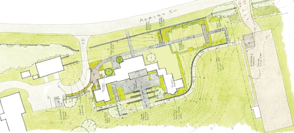 Draft plan of courtyard and terrace for exterior events