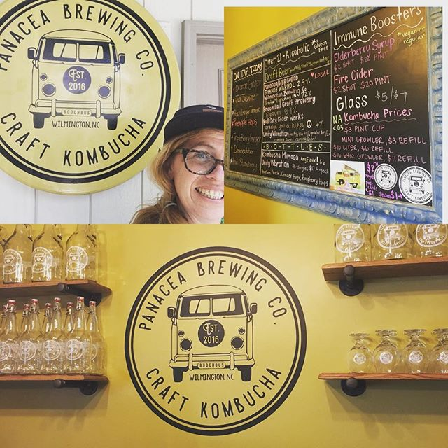 We're Day tripping and made a point to stop in and meet the folks at @panaceabrewingcompany  Love your tap room and all the flavors! Look forward to next time you all! #nckombucha #kombuchacommunity #supportlocalbusiness #ontap #wilmingtonkombucha