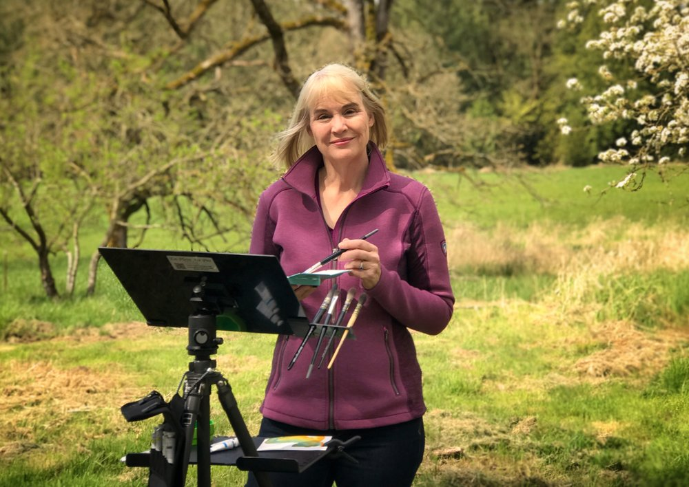 "Susan painting ""en plein air"" on her farm in Winlock, Washington"