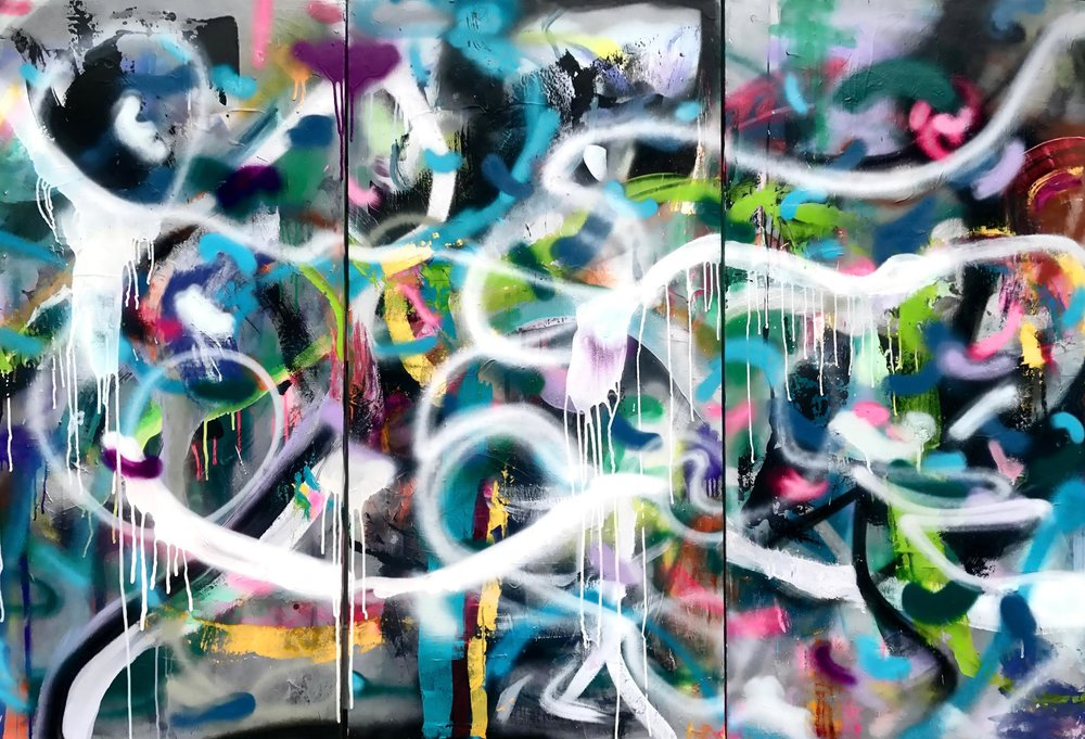 Juju, Tryptic Mixed Media on Canvas 60x90 in.
