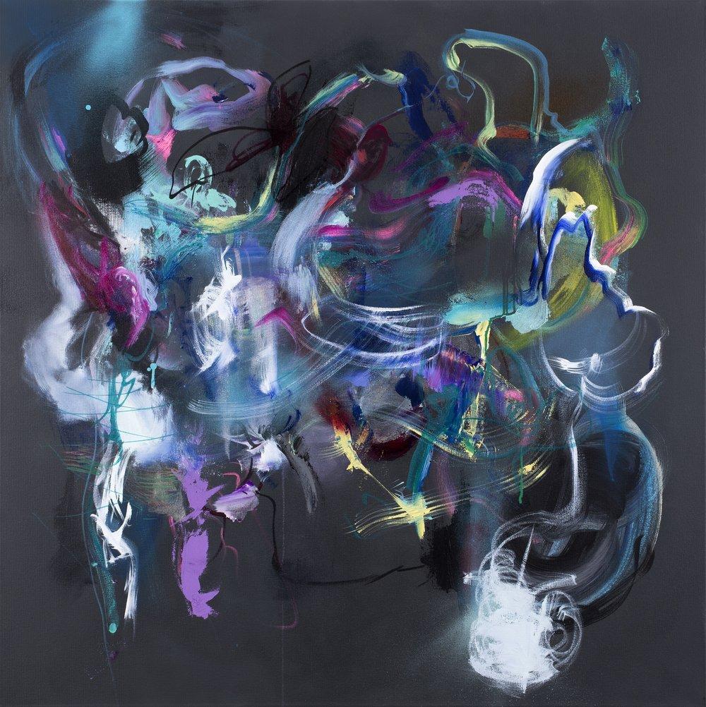 """Black Swans Dance"" Acrylic on Canvas 40x40 in."