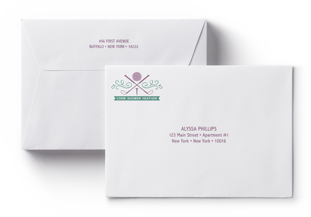 Golf-themed bridal shower invitation envelopes