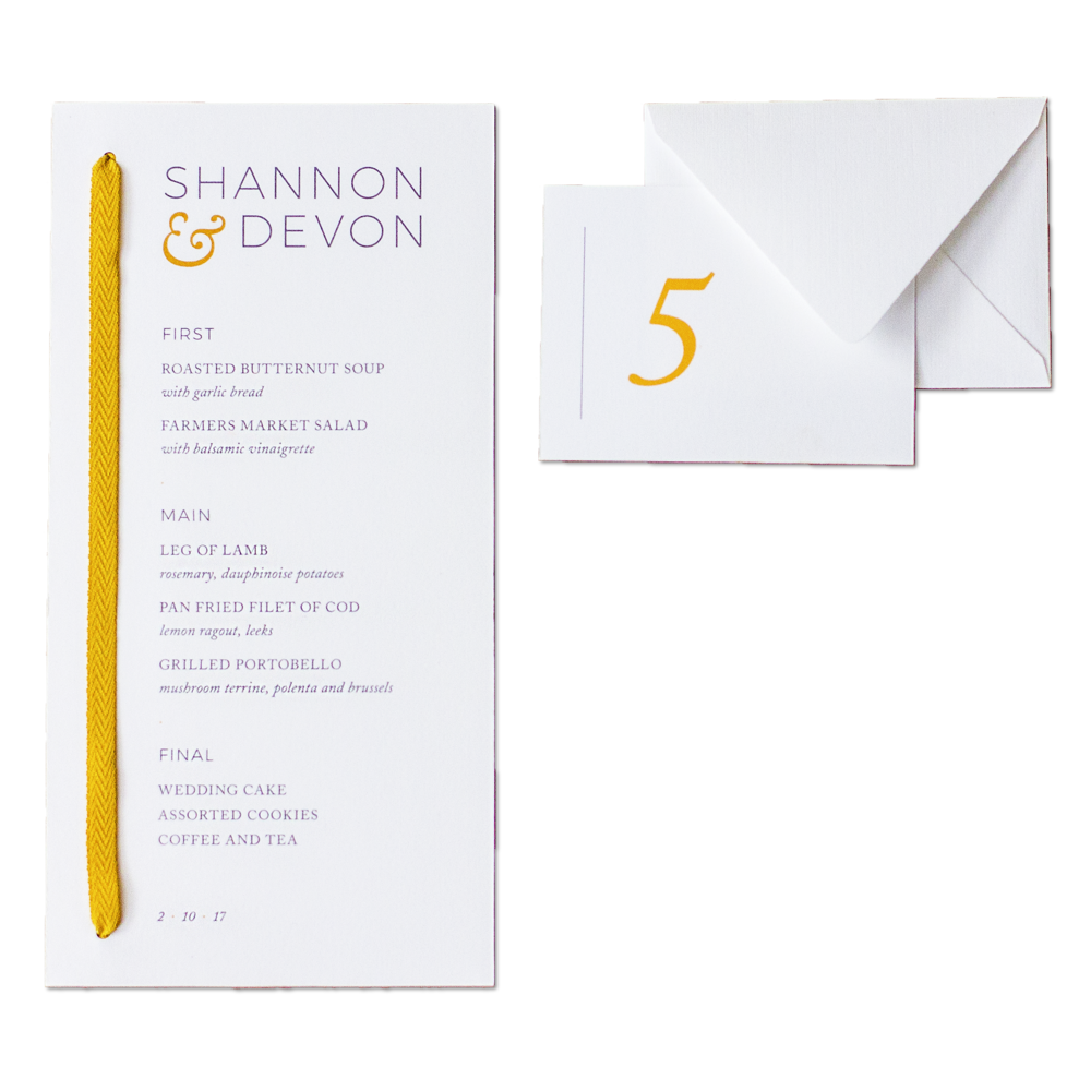 Sophisticated wedding menu and escort cards