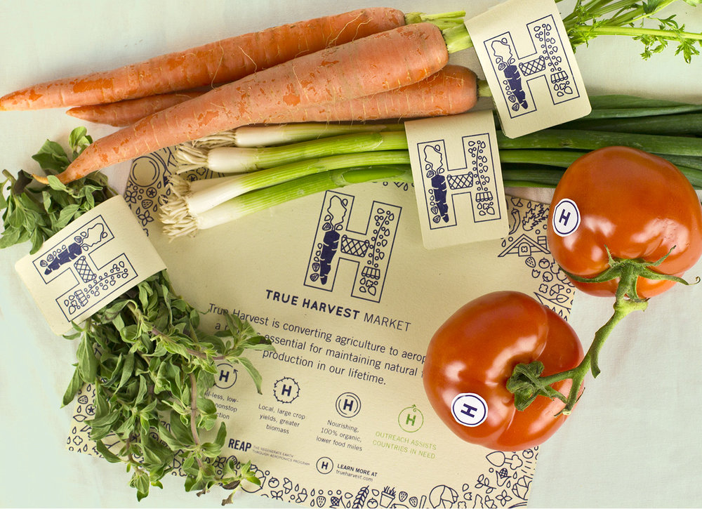 True Harvest Market tag and sticker designs for produce