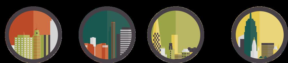 Custom illustrations representing each regional festival city