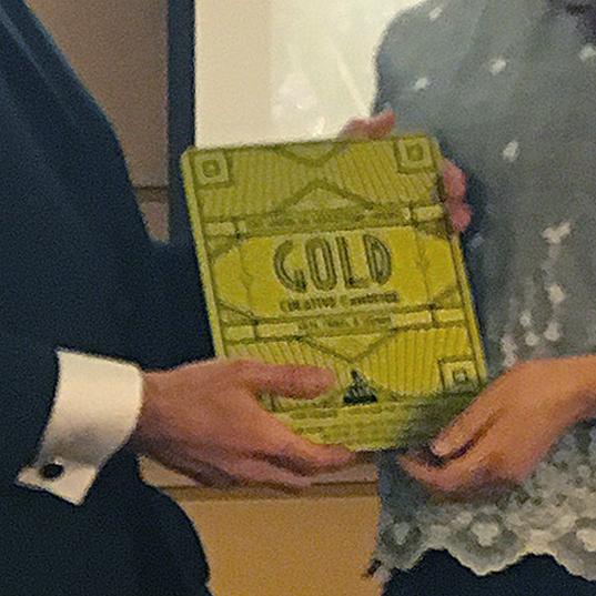 Gold award printed on brushed metal