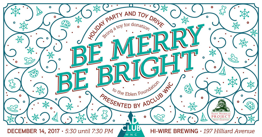 Social media banner for AdClub WNC's end-of-the-year holiday party