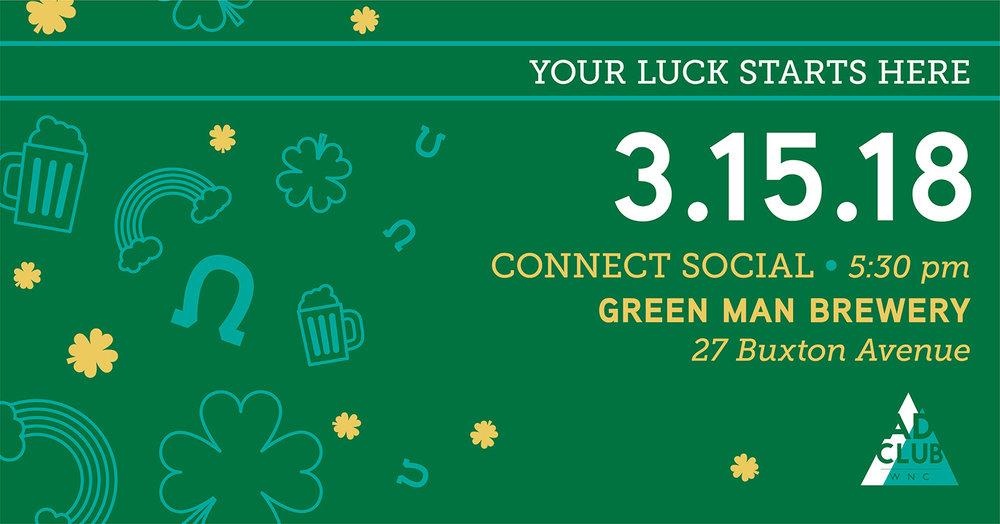 St. Patrick's Day themed social media banner for a March social