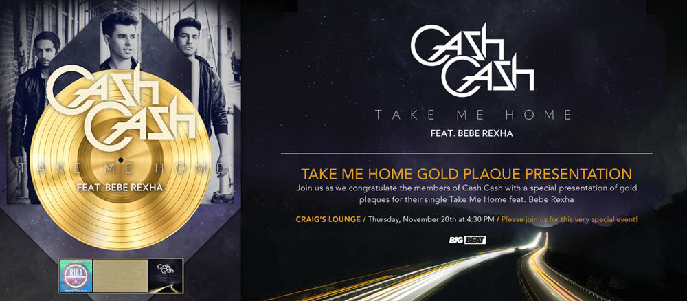 "Gold plaque design and evite design for Cash Cash's ""Take Me Home"""