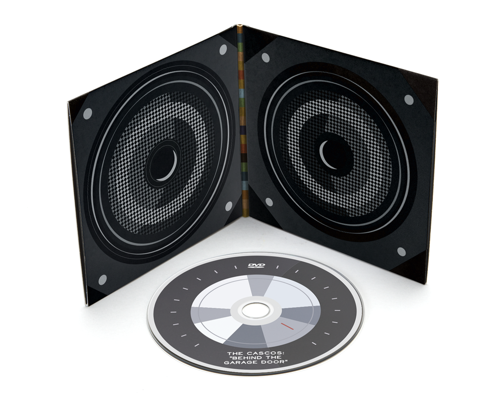 The disk sleeve mimics a speaker set and holds the music CD as well as an exclusive DVD.