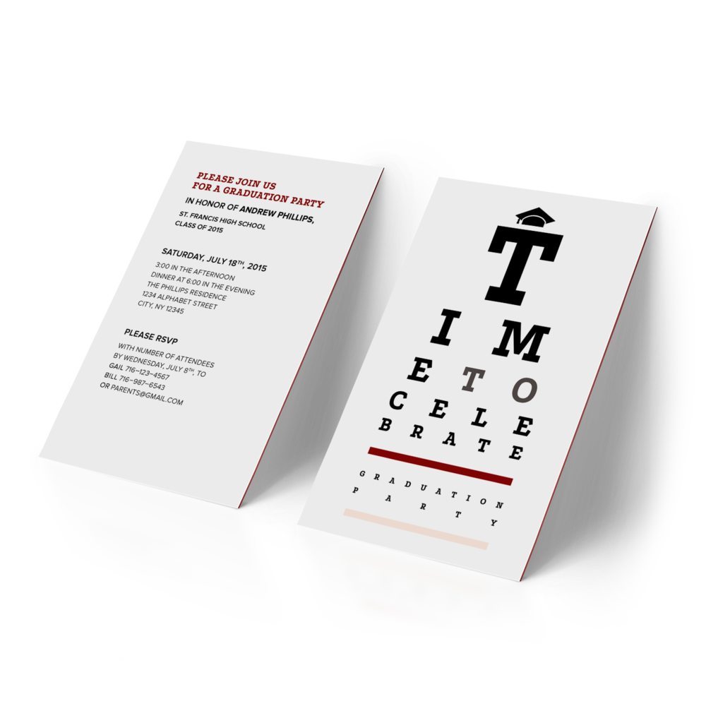 Optometry-themed graduation party invitation