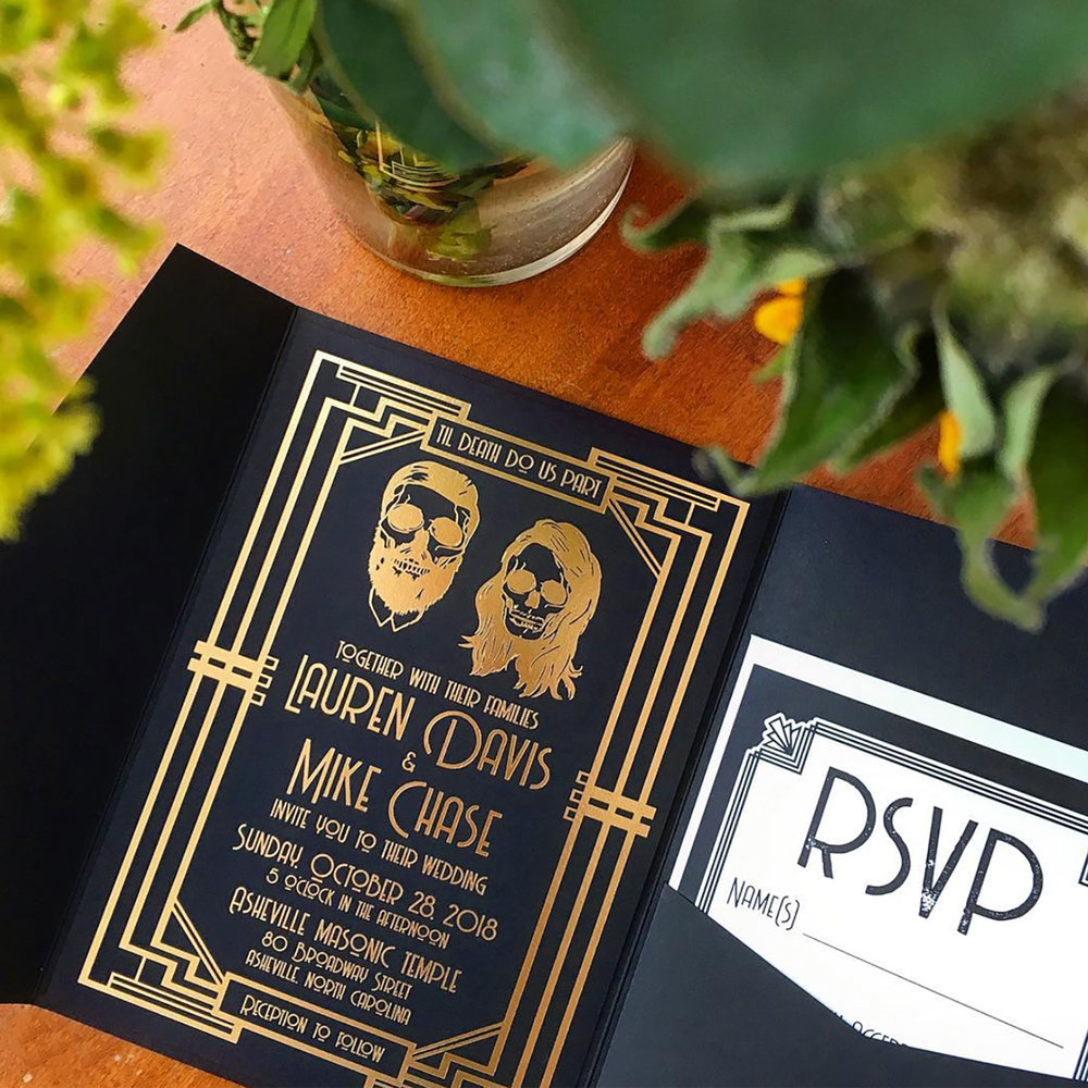 Halloween-themed invitation suite