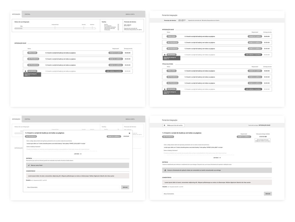 Wireframe iterations on the task list and task detail pages