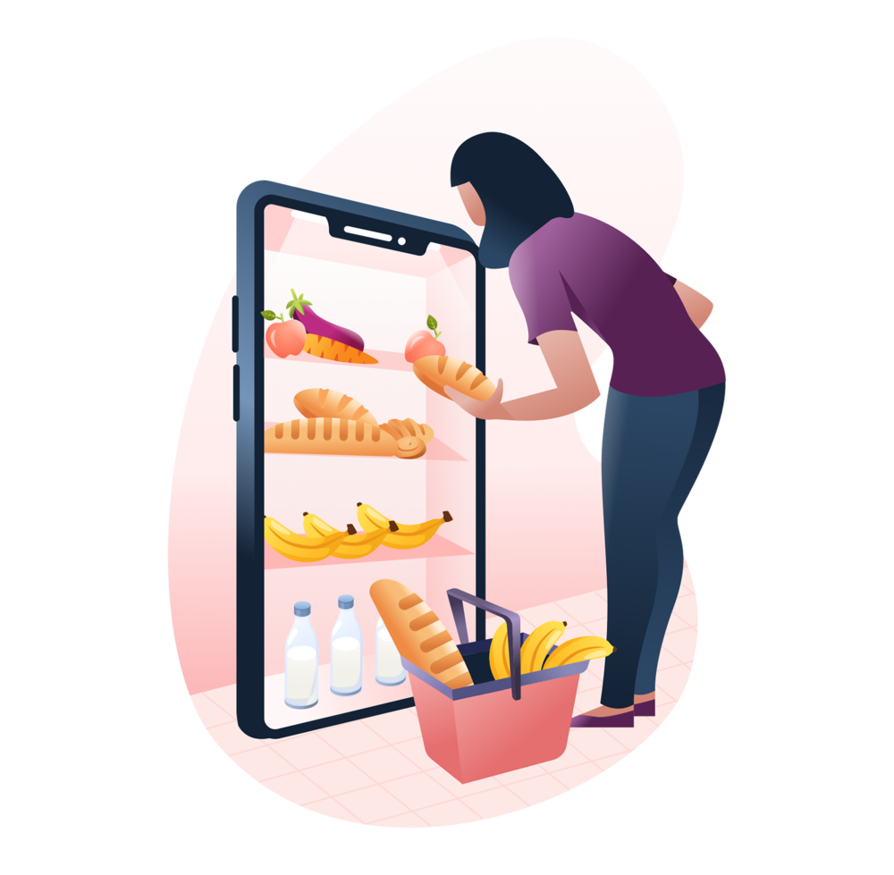 Chicory Homepage Illustration - Woman Shopping Recipes Mobile Phone.png