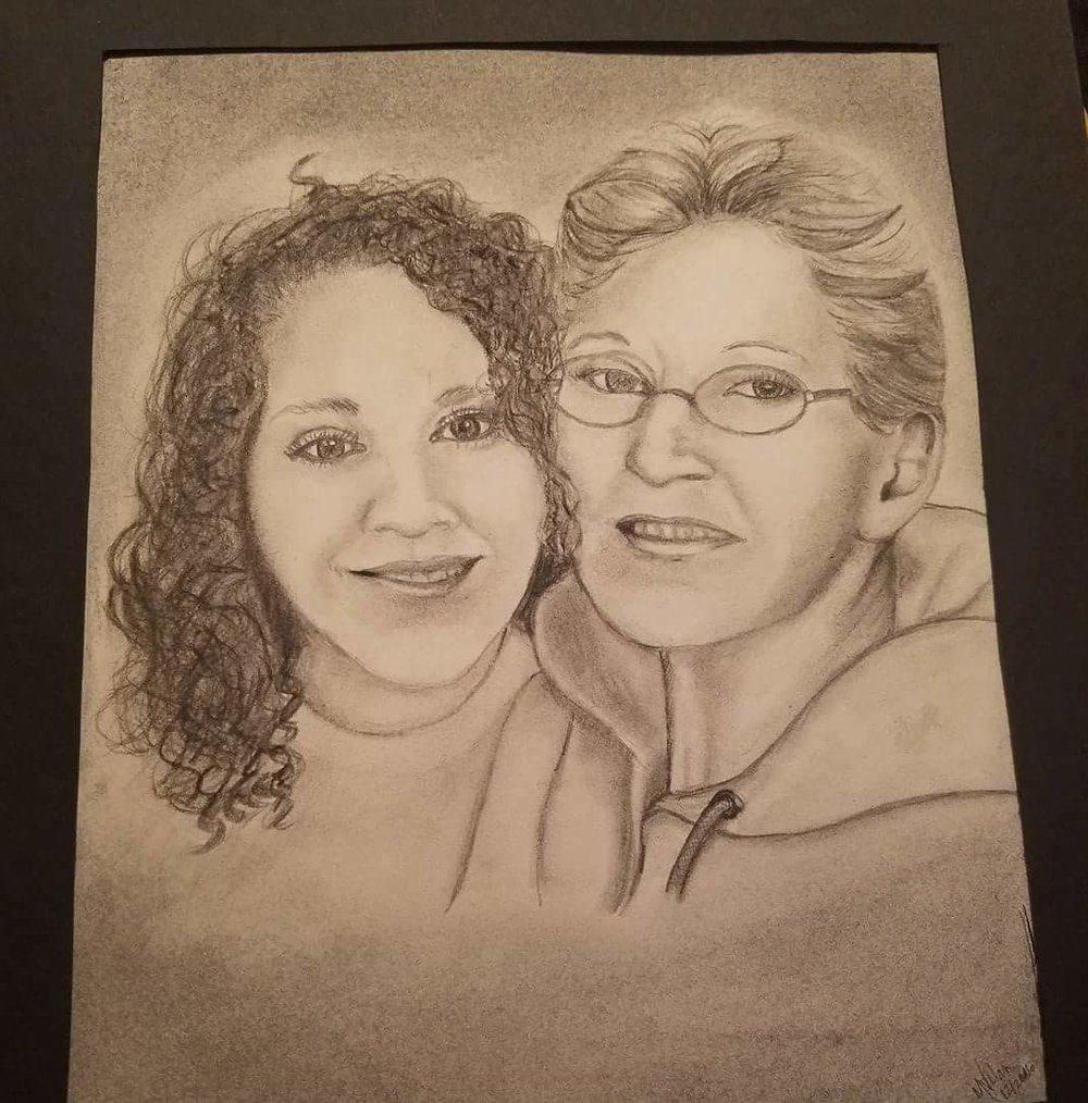 Sketch of Sarah and her mom. (Image Courtesy of Sarah Sligar)