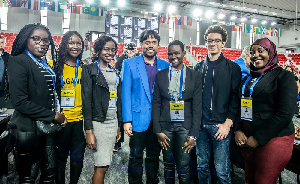 Team Uganda with US Grandmasters Hikaru Nakamura and Fabiano Caruana
