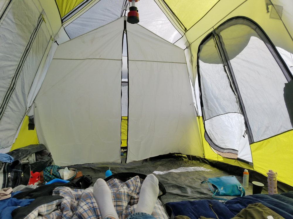 See how spacious the inside of this tent is?