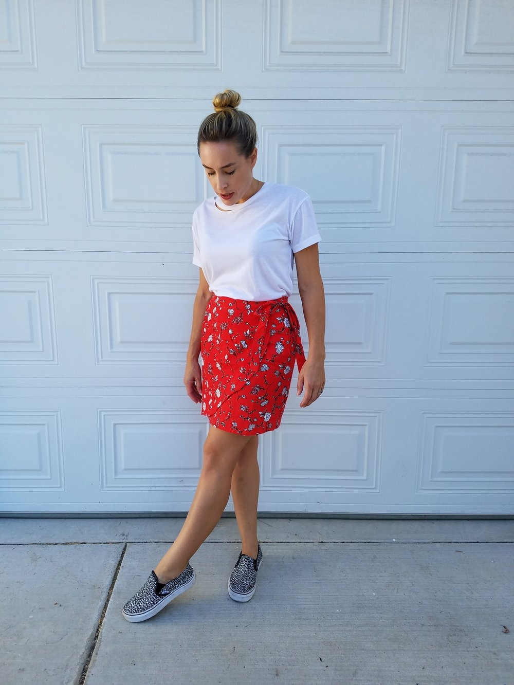 White Basic: Macy's  Red Floral Wrap: Cotton On  Leopard Print Slip-On: Vans