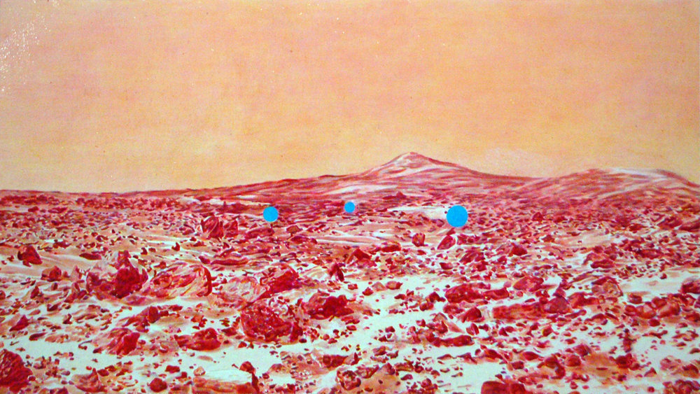 "Encounter on Mars , 2010, oil on paper, 13.5"" x 24"""