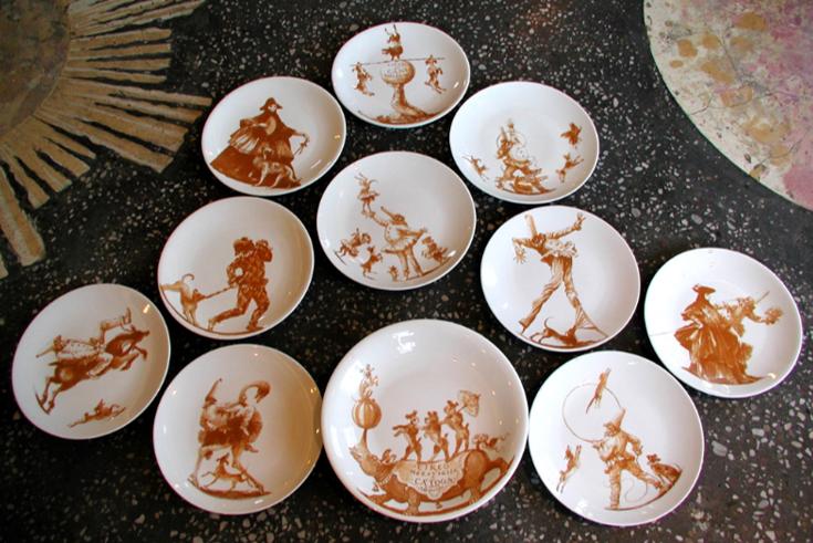 Il Circo Di Pulcinella (Pulcinella's Circus) - Porcelain Plates $70 each/$715 set of 12