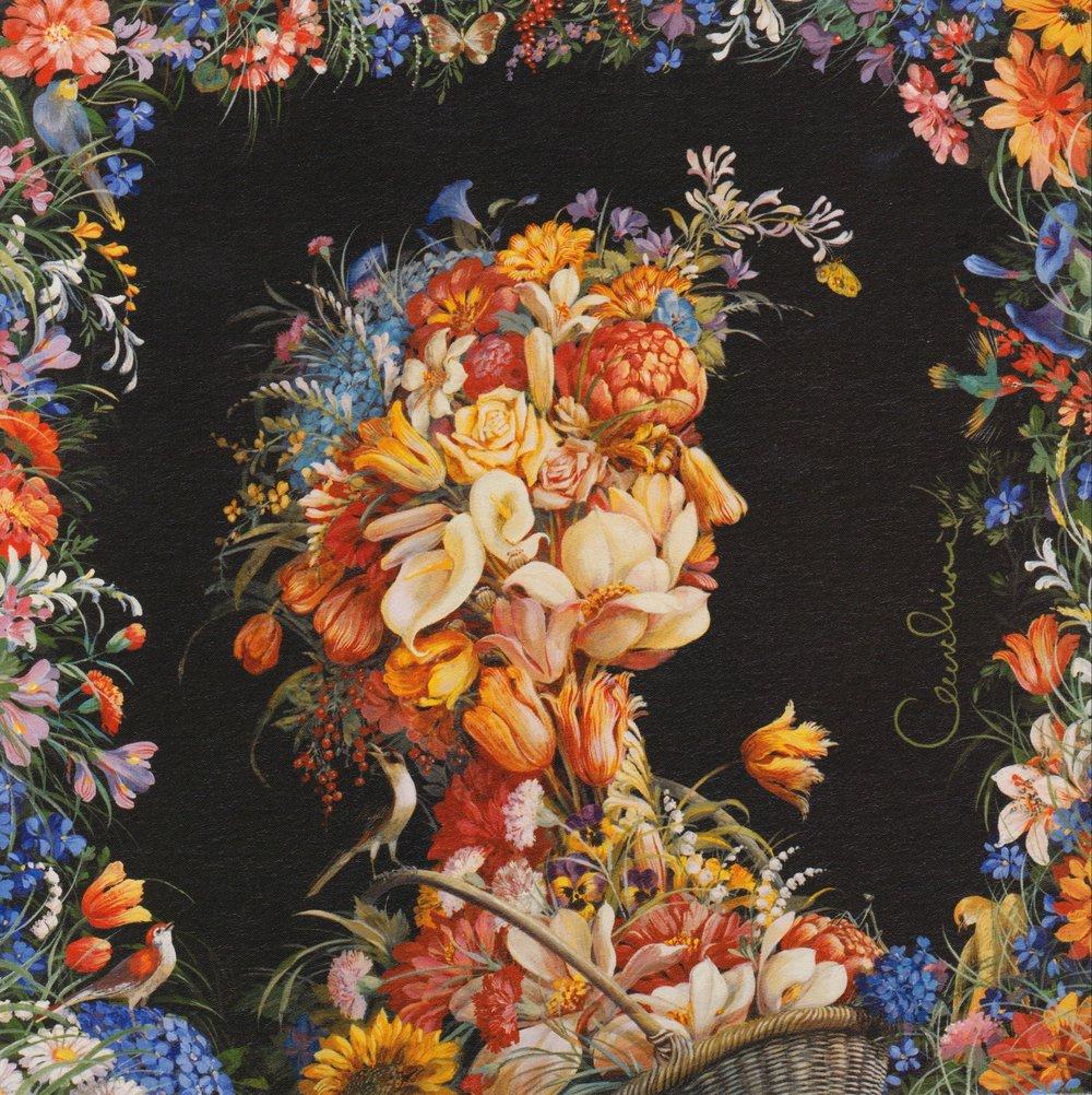 Flower Lady 100% Silk Scarf $160