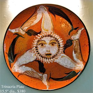 Trinacria Ceramic Plate - One-of-a-kind $380