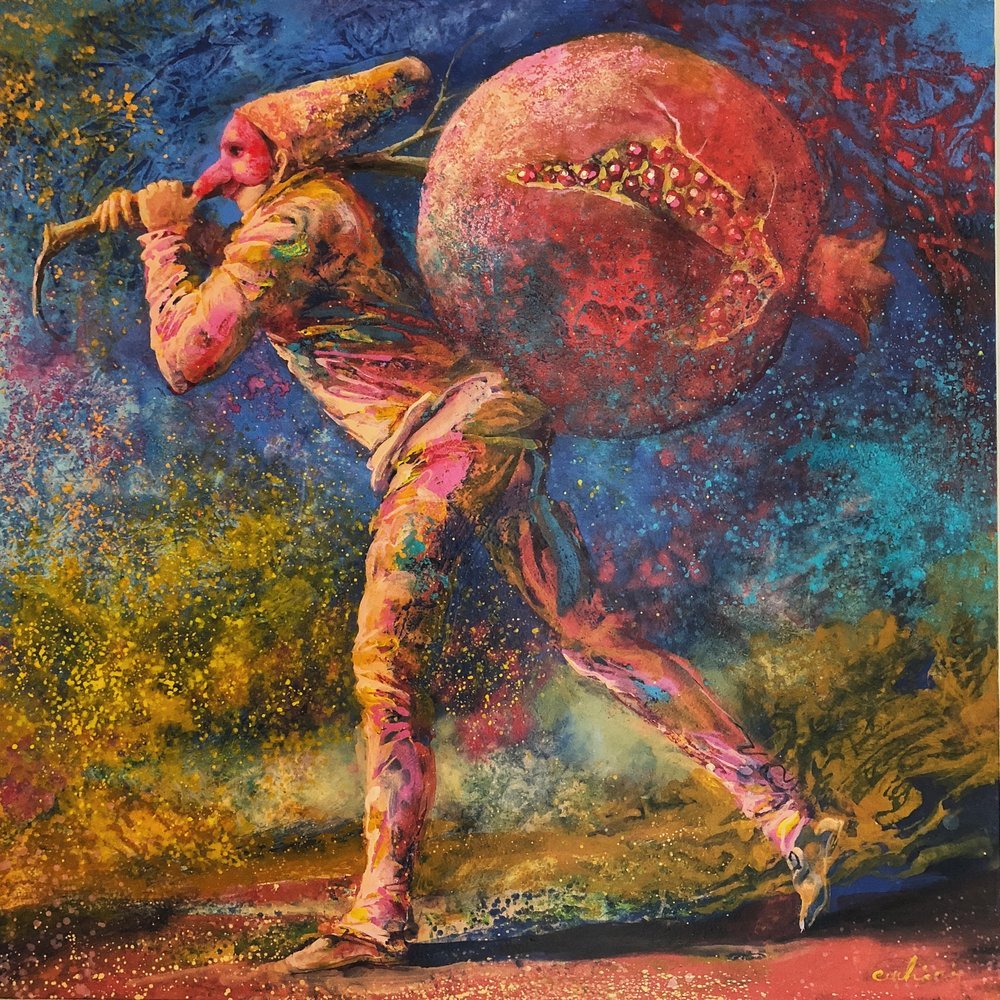 """Pomegranate Delivery - One-of-a-kind Painting - 46"""" x 46"""", $15,000"""