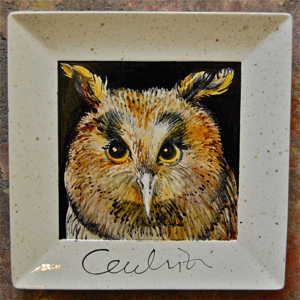 "Owl Ceramic - One-of-a-kind 10'"" x 10"" $550"