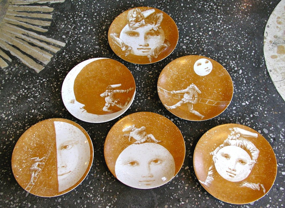 Pulcinella and the Moon Porcelain Plates $120 each/$648 set of 6