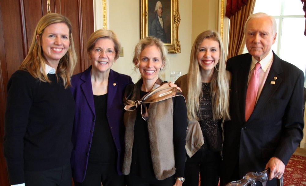 Shannon Cohn, Sen. Elizabeth Warren, Mary Alice Hatch, Emily Hatch and Sen. Orrin Hatch in Washington, D.C.