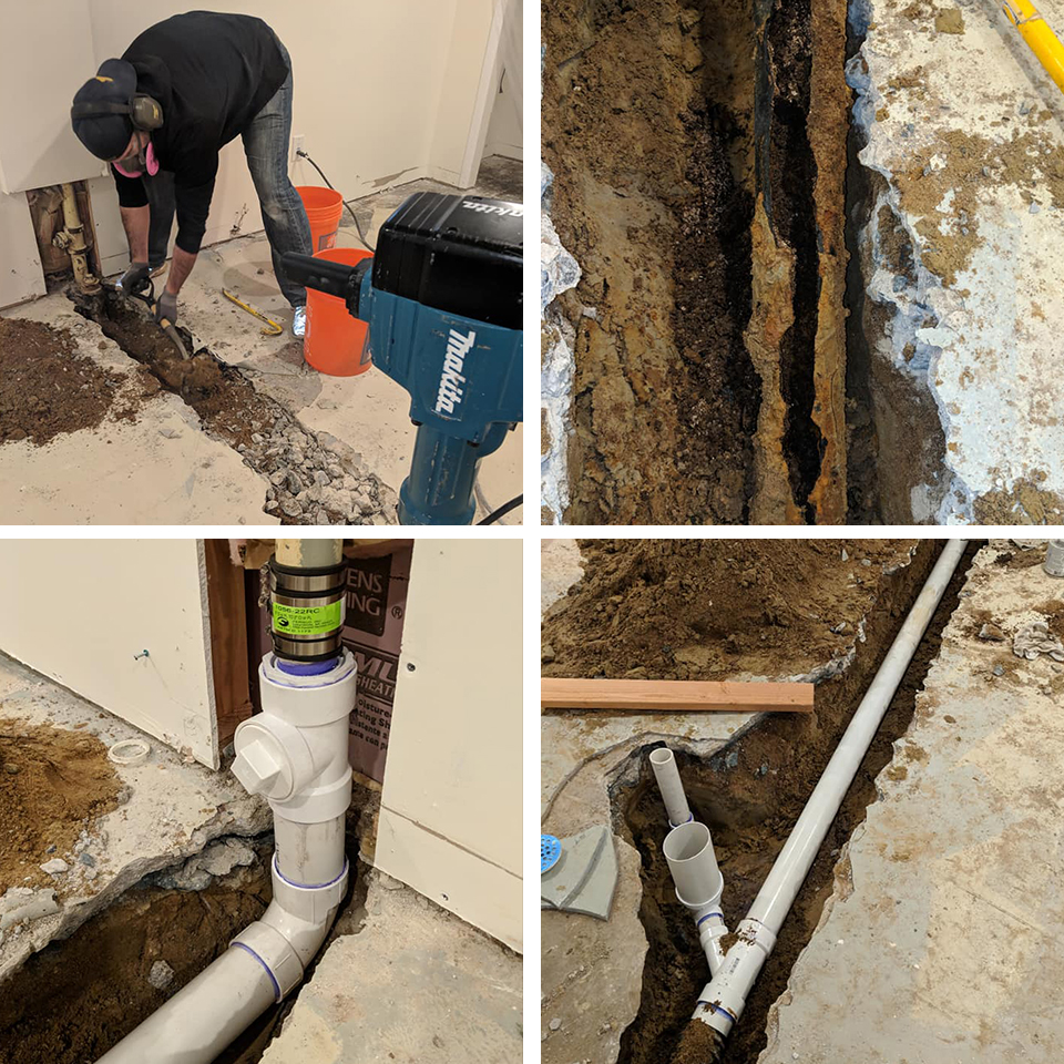 a rotted out pipe became packed with roots/dirt. We were able to break the concrete, remove the old pipe and replace it with new PVC — Including a check valve for the floor drain and a new full size clean out.