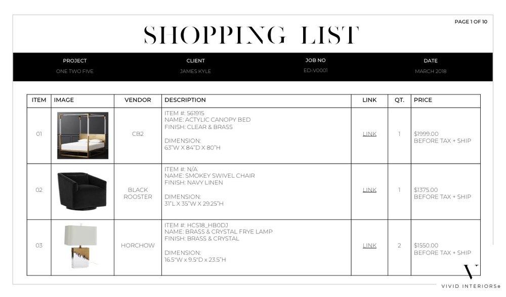 shopping list -