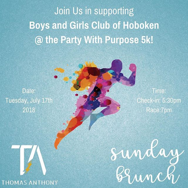 Do you like to have fun? Do you like to support amazing causes? Join @thomasanthonyfitness and I @shopsundaybrunch as we run a 5k and raise money for the Boys and Girls Club Hoboken with @partywithpurpose! Interested in joining our team? Of course you are! Register now at http://www.partywithpurpose.org/events/2018hoboken5k/ and make sure to register with our team: Thomas Anthony Fitness X Sunday Brunch! DM me with any questions!